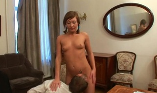 Lusty honey is giving older teacher a lusty blow job session