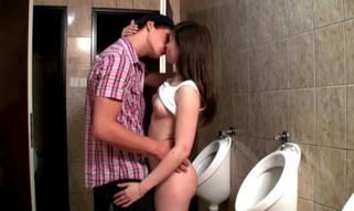 Horny hottie enjosy passionate sex next to the biffy bowls