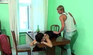 After getting fucked on the table legal age teenager playgirl gets recent jizz loads