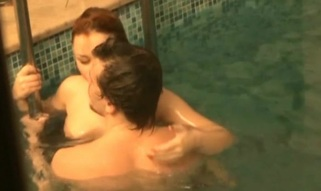 Shaved cum-hole gap of a legal age teenager playgirl is fucked in swimming pool