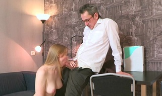Ravishing darling is delighting old teacher with oral sucking