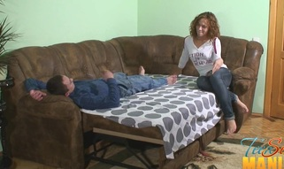Pull out sofa worn out by 2 horny teen strumpets and a guy