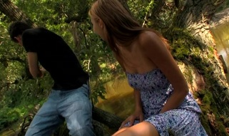 Wild fuck outdoors on the log with a wicked and immodest blond