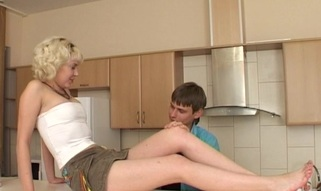 Filthy blond bonks non-stop with partner and cums many times