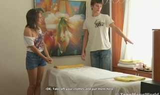 Sinless sweety shocked by a horny massage therapist