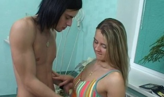 Horny blond is indeed good at blow job gratifying of her legal age teenager stud