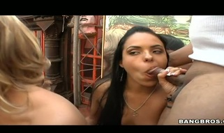 Nasty hotties are taking turns riding on dude's dick