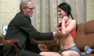 Sweet chick suggests her wild cum-hole for teacher's pleasure