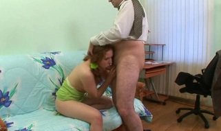 Lascivious old teacher gives youthful sweetheart a vigorous drilling