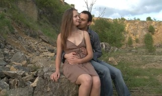 Legal Age Teenager sex takes place on a stone in open air with a legal age teenager slut