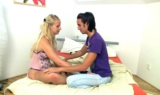 Blond slut is being pleased on the ottoman with sex and oral-service games