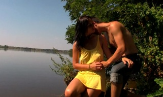 Outdoors legal age teenager sex happens by the large lake with a legal age teenager pair