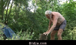 Those two juvenile blondes are walking alone in the forest out of fear. When they meet an old wood cutter their eager minds thinks at engulfing his old dong and fucking him in an oldyoung 3some fuck