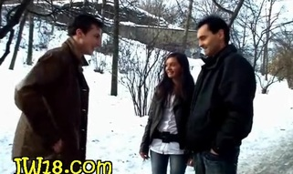 Beauty meets two boyfrends who are seducing her to have wonderful trio banging