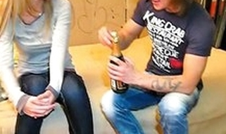 Dude drinks champagne with cutie wishing to tempt her to have fine sex with him