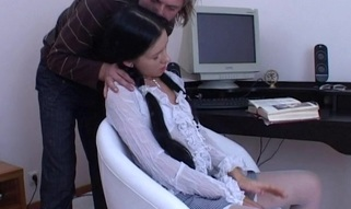 White cozy chair is used for fucking a messy and horny brunette hair