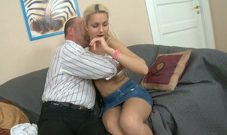 Sweet chick is getting her twat drilled by tutor from behind