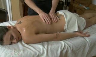 Youthful masseur is getting a hard boner from massaging honey
