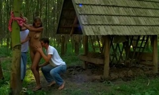 Pals tie up stunning babe outdoor and then fuck her so hard