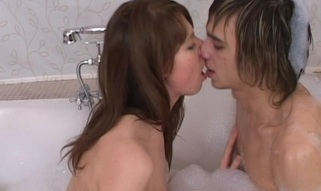 Watch as legal age teenager hottie enjoys soaping and fucking with her stud