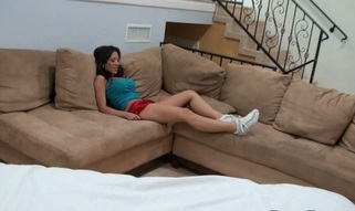 Massuer is stimulating playgirl's slit with vibrator after massage