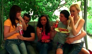 Barbecue session outdoors transforms into a hawt legal age teenager sex