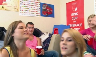 College wench sucks dick during the time that her allies tape her