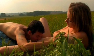 Captivating playgirl is driving stud eager with open field oral job