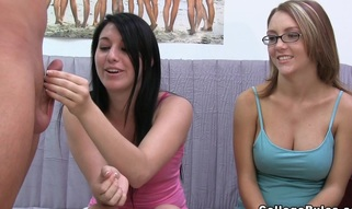 Two college co-eds take turns shagging a hard dick