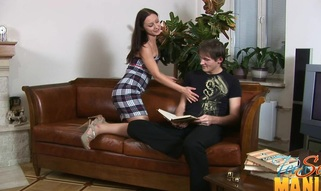 Leather couch sees plenty of teen sex action