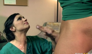 Andy is a doctor and this babe has been having pleasure teasing and bossing around Keiran, who is a male nurse. A doctor at the hospital humiliates Keiran and this makes water off Andy, so, to get even with the doctor, that babe rejects him and starts coming on to Keiran in front of him, and they start taking this way further than just flirting. To put the last burn on the doctor, that babe sucks and bonks the shit out of Keiran.