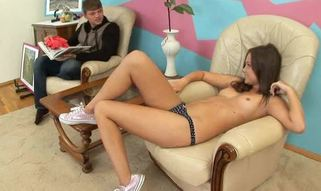 Pleasant hot cutie gets drilled hard in by ice jizz man!