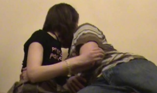 Stud chokes his dirty whore, during the time that hammering her in the room