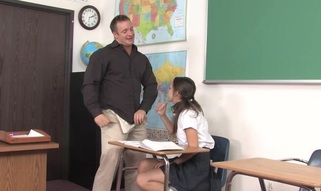 Teacher thinks it is time for his student to try a aged cock
