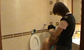 Legal Age Teenager fucking takes place in a petite washroom with a hot blond