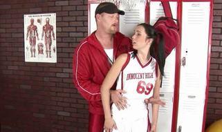 Rock hard guy fills tight fuckholes of a reluctant schoolgirl