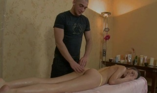 Bewitching darling is getting wild massage on her sexy body