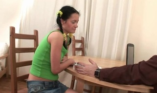 Ravishing sweetheart is getting her twat drilled by tutor from behind