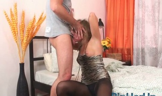Fellow stuffs her soaked arsehole hole by his very huge jock