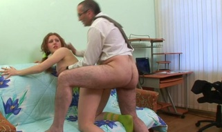 Charming old teacher is drilling pleasing hottie from behind